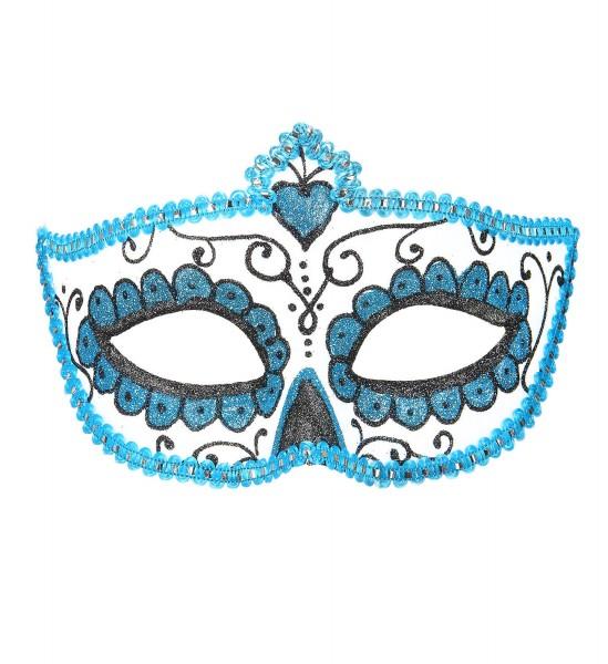 Augenmaske dia de los muertos hellblau Tag der Toten Maske zum Binden Glitzer