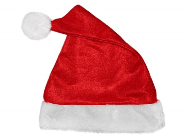 Luxus Weihnachtsmannmütze rot mit sehr dickem Pelzrand