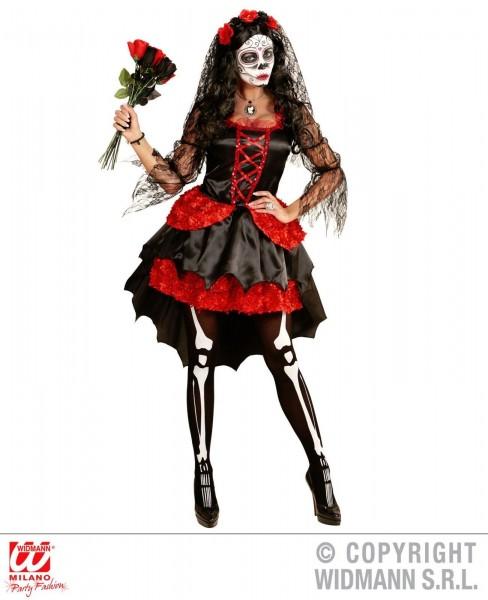 Braut Dia de los Muertos schwarz rot mit Haarreif