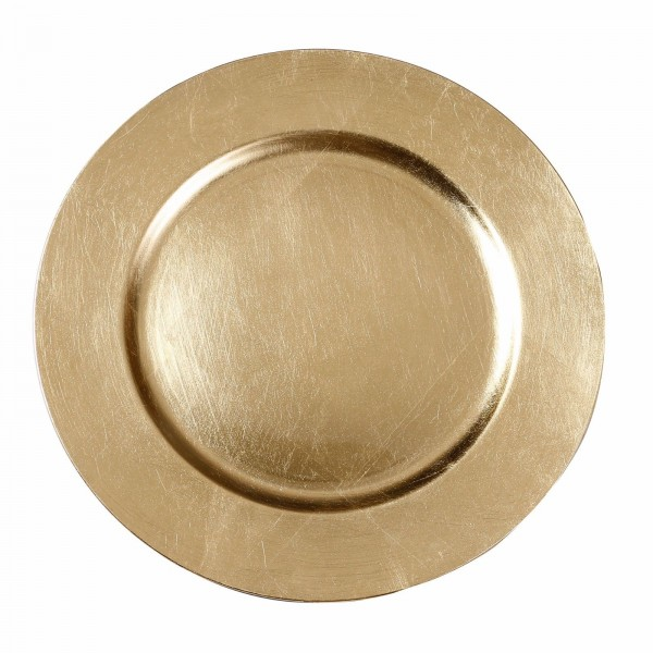 Kunststoff Dekoteller 33cm gold