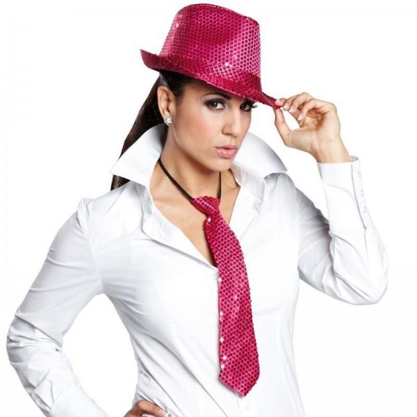 Pailletten Krawatte pink